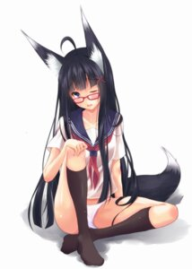 Rating: Questionable Score: 43 Tags: animal_ears kitsune megane pantsu second_heaven seifuku tail thighhighs User: 椎名深夏