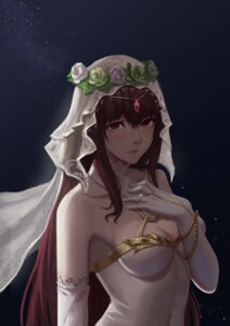 Rating: Safe Score: 30 Tags: cleavage dress fate/grand_order scathach_(fate/grand_order) silver_snow wedding_dress User: mash