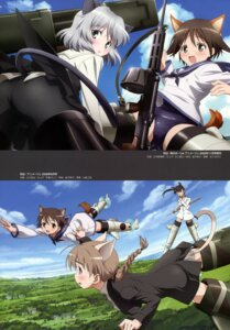 Rating: Questionable Score: 9 Tags: animal_ears ass eyepatch gun lynette_bishop miyafuji_yoshika pantyhose sakamoto_mio sanya_v_litvyak strike_witches tail User: Nepcoheart