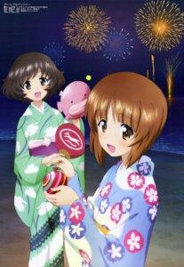 Rating: Safe Score: 43 Tags: akiyama_yukari girls_und_panzer itou_takeshi nishizumi_miho yukata User: drop