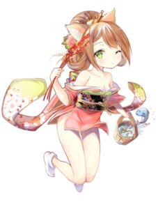 Rating: Safe Score: 31 Tags: animal_ears batgo cleavage kimono nekomimi no_bra open_shirt User: KazukiNanako