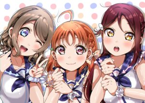 Rating: Safe Score: 9 Tags: love_live!_sunshine!! panda_copt sakurauchi_riko seifuku takami_chika watanabe_you User: saemonnokami