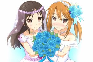 Rating: Safe Score: 31 Tags: dress kochiya_hizuki tachibana_arisu the_idolm@ster the_idolm@ster_cinderella_girls wedding_dress yuuki_haru User: Mr_GT