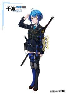 Rating: Safe Score: 10 Tags: asagon007 mecha_musume sword tattoo thighhighs uniform User: Dreista