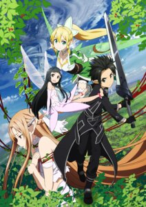 Rating: Questionable Score: 30 Tags: asuna_(sword_art_online) cleavage elf fairy jpeg_artifacts kirito leafa pointy_ears sword sword_art_online thighhighs wings yui_(sword_art_online) User: Ryksoft