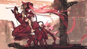 Rating: Questionable Score: 13 Tags: mecha_musume nanatsuki_sousuke no_bra smoking tail User: BattlequeenYume
