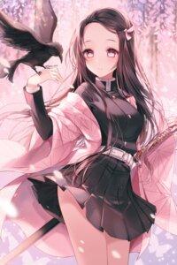 Rating: Questionable Score: 8 Tags: japanese_clothes kamado_nezuko kimetsu_no_yaiba skirt_lift sword taya uniform User: Mr_GT