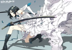 Rating: Safe Score: 81 Tags: dogs dress fuyumine_naoto miwa_shirow sword wedding_dress User: animeprincess