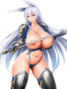 Rating: Questionable Score: 75 Tags: animal_ears armor breasts bunny_ears nipples no_bra obaoba_(monkeyix) pantsu sword thighhighs User: mash