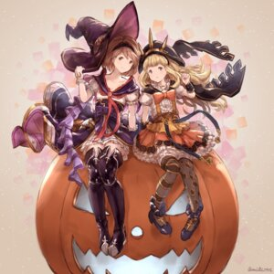 Rating: Safe Score: 33 Tags: cagliostro_(granblue_fantasy) djeeta_(granblue_fantasy) granblue_fantasy halloween heels milli_little thighhighs witch User: Mr_GT
