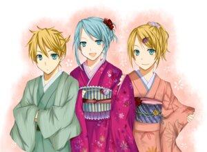 Rating: Safe Score: 4 Tags: hatsune_miku kagamine_len kagamine_rin kimono vocaloid yuzu_mikoto User: Radioactive