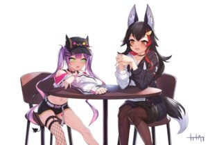 Rating: Safe Score: 14 Tags: animal_ears arpeggio_kaga devil fishnets garter hololive ookami_mio pantyhose stockings tail thighhighs tokoyami_towa User: dick_dickinson