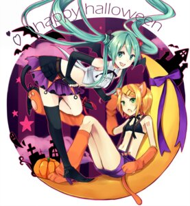 Rating: Safe Score: 24 Tags: animal_ears bikini_top bra halloween hatsune_miku kagamine_rin tail thighhighs vocaloid wadaka User: fairyren