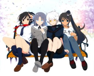 Rating: Questionable Score: 20 Tags: bike_shorts pantyhose seifuku senran_kagura yaegashi_nan User: fireattack