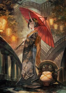 Rating: Safe Score: 31 Tags: horns kimono lack sword umbrella User: Mr_GT