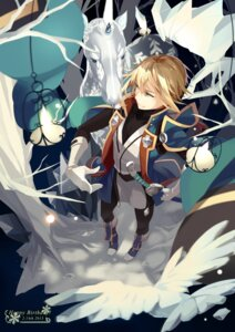Rating: Safe Score: 8 Tags: blazblue horns kisaragi_jin male selenoring sword User: charunetra