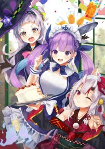 Rating: Safe Score: 16 Tags: hololive horns japanese_clothes konkito maid minato_aqua murasaki_shion nakiri_ayame witch User: Mr_GT