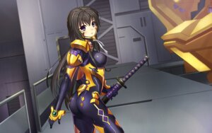 Rating: Questionable Score: 55 Tags: ass bodysuit dance_of_eternity erect_nipples muvluv muvluv_alternative sword takamura_yui total_eclipse User: sylver650