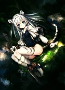 Rating: Safe Score: 55 Tags: animal_ears hitomaru school_swimsuit swimsuits sword tail thighhighs User: Radioactive