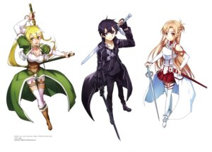 Rating: Safe Score: 29 Tags: abec alfheim_online armor asuna_(sword_art_online) cleavage kirito leafa pantyhose pointy_ears sword sword_art_online thighhighs User: drop