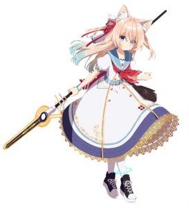Rating: Questionable Score: 15 Tags: animal_ears mamyouda seifuku skirt_lift weapon User: Dreista