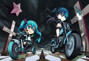 Rating: Safe Score: 16 Tags: bikini_top black_rock_shooter black_rock_shooter_(character) chibi chiita hatsune_miku thighhighs vocaloid wallpaper User: Radioactive