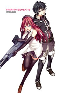 Rating: Safe Score: 20 Tags: asami_lilith gun kasuga_arata nao_akinari seifuku thighhighs trinity_seven User: kiyoe