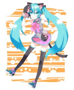 Rating: Safe Score: 15 Tags: animal_ears hatsune_miku miz_01 nekomimi tail thighhighs vocaloid User: Radioactive