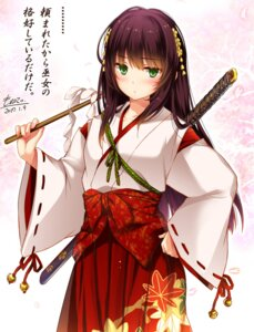 Rating: Safe Score: 74 Tags: autographed flower_knight_girl miko monety sword User: fairyren