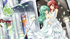 Rating: Safe Score: 11 Tags: ahirun dress hakurei_reimu kochiya_sanae touhou wallpaper wedding_dress User: yumichi-sama