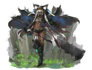 Rating: Questionable Score: 17 Tags: animal_ears armor bikini_armor cleavage garter gond heels sword tail tattoo thighhighs User: Genex