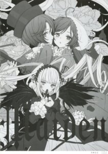 Rating: Questionable Score: 5 Tags: gothic_lolita lolita_fashion monochrome rozen_maiden souseiseki suigintou suiseiseki tsukigami_luna wings User: Radioactive
