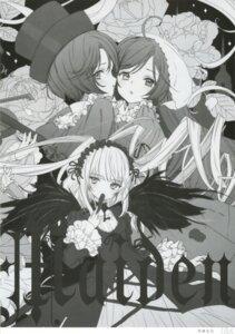 Rating: Questionable Score: 5 Tags: gothic_lolita lolita_fashion monochrome rozen_maiden souseiseki suigintou suiseiseki tsukigami_luna wings User: Radioactive