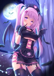 Rating: Questionable Score: 85 Tags: devil horns nurse stockings tail thighhighs underboob wings yuyuko_(yuyucocco) User: yanis
