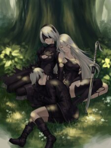 Rating: Safe Score: 47 Tags: angry_bird cleavage dress nier_automata sword thighhighs yorha_no.2_type_b yorha_no._9_type_s yorha_type_a_no._2 User: mash