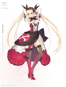 Rating: Questionable Score: 62 Tags: blade_arcus_from_shining_ex cleavage digital_version dress gothic_lolita heels lolita_fashion mistral_nereis no_bra pointy_ears sega shining_blade shining_hearts shining_world thighhighs tony_taka weapon User: Twinsenzw