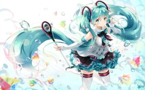 Rating: Safe Score: 92 Tags: hatsune_miku kuroi_asahi thighhighs vocaloid User: Mr_GT