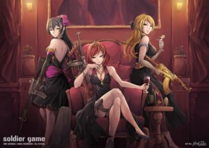 Rating: Safe Score: 60 Tags: ayase_eli cleavage dress garter gun heels hiroki_ree love_live! nishikino_maki pantyhose signed smoking sonoda_umi User: mash