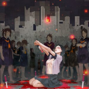 Rating: Questionable Score: 31 Tags: blood cleavage megane nababa no_bra open_shirt seifuku weapon User: Mr_GT