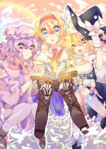 Rating: Safe Score: 15 Tags: alice_margatroid dress kaenuco kirisame_marisa patchouli_knowledge thighhighs touhou witch User: charunetra