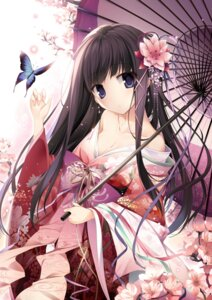 Rating: Questionable Score: 45 Tags: cleavage karory kimono open_shirt umbrella User: edogawaconan
