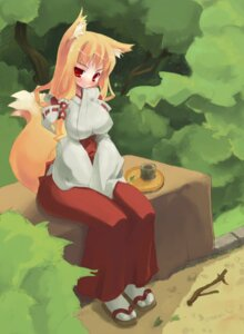 Rating: Questionable Score: 20 Tags: amasa_mitsunaru animal_ears erect_nipples kitsune miko tail User: newt
