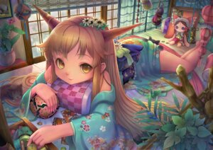 Rating: Safe Score: 21 Tags: hakurei_reimu horns ibuki_suika kimono sanntouhei touhou User: eridani