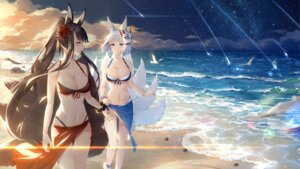 Rating: Safe Score: 82 Tags: akagi_(azur_lane) animal_ears azur_lane bikini cleavage kaga_(azur_lane) kitsune maya_g swimsuits tail User: Qpax
