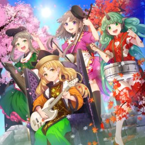 Rating: Safe Score: 10 Tags: animal_ears guitar horns japanese_clothes komano_aun matara_okina nishida_satono nonomaro teireida_mai thighhighs touhou User: Mr_GT