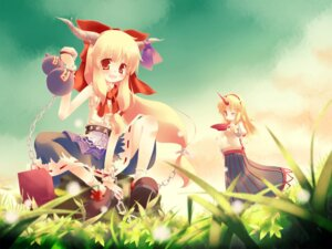 Rating: Safe Score: 18 Tags: gen-getsu horns hoshiguma_yuugi ibuki_suika touhou wallpaper User: Radioactive