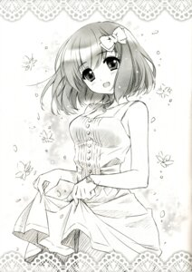 Rating: Questionable Score: 35 Tags: carnelian cleavage dress monochrome skirt_lift User: anoyoroshi
