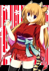 Rating: Safe Score: 13 Tags: animal_ears kimono kinoko tail thighhighs User: fireattack