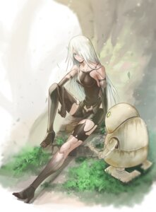 Rating: Safe Score: 25 Tags: heels leotard mecha mecha_musume nier_automata san_(artist) thighhighs torn_clothes yorha_type_a_no._2 User: mash