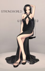 Rating: Safe Score: 33 Tags: boa_hancock cleavage dress niku one_piece User: jikuu